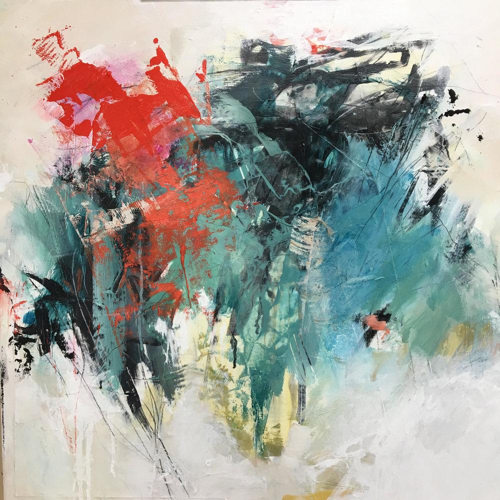 Flirt  24 x 24 (mixed media on canvas)