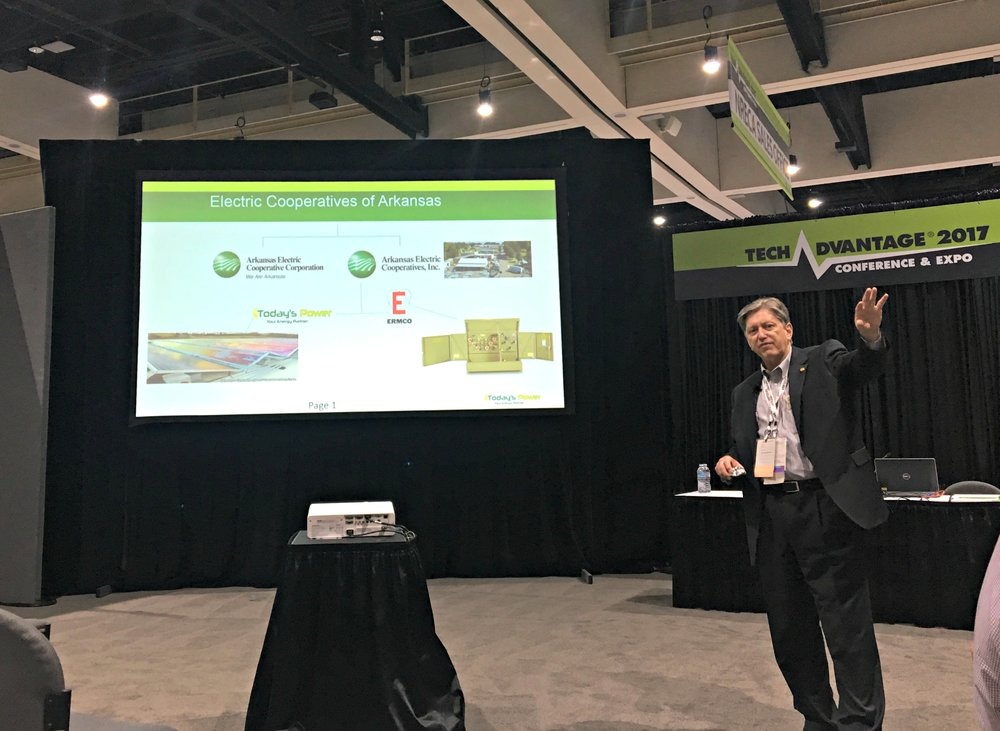Today's Power President, Michael Henderson shares strategies on procuring solar energy during a breakout session at TechAdvantage.