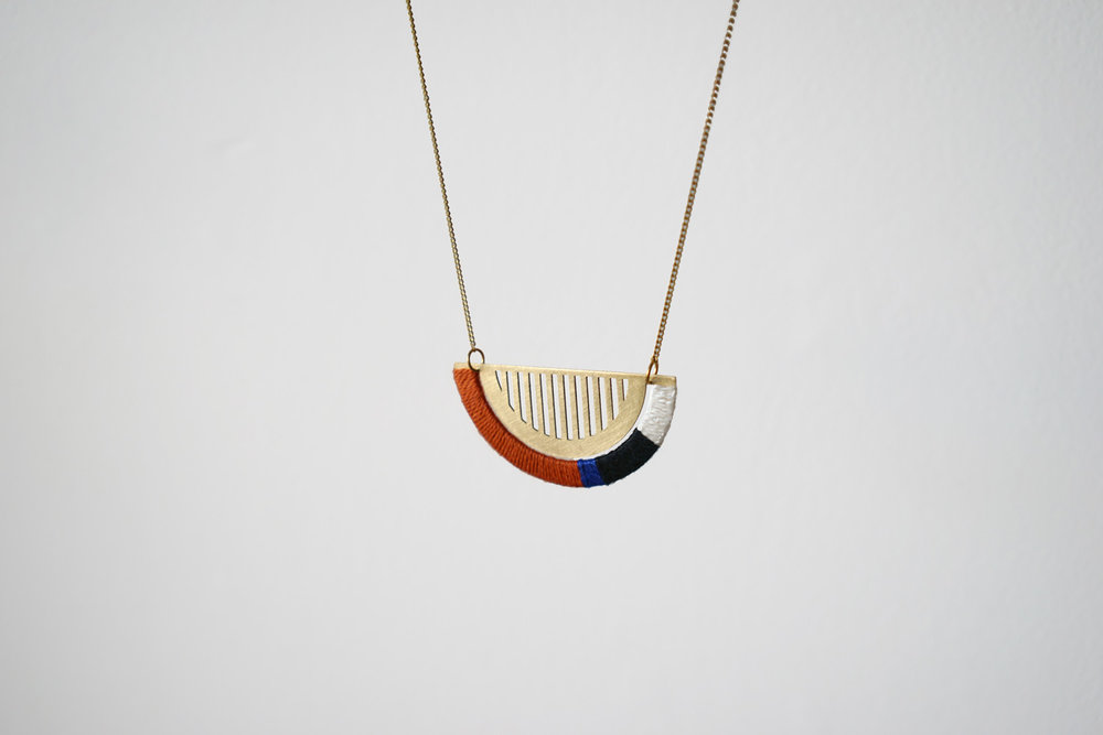 HADEN - is one of a kind + limited run of necklaces, bracelets and earrings —focusing on the use of re-purposed leather, brass, and semi precious stones.