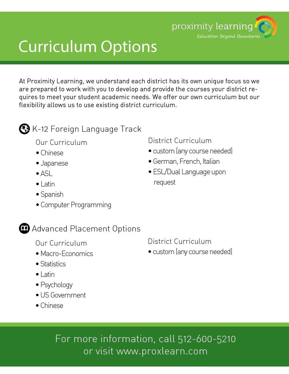 Curriculum Options – Basic