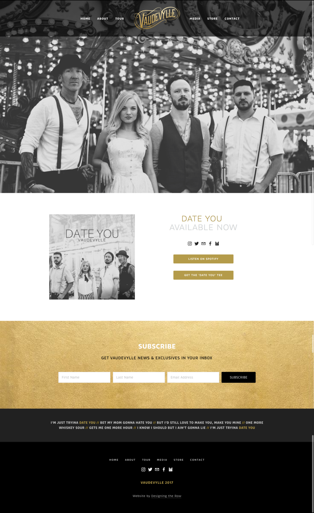Squarespace Pacific homepage layout | Vaudevylle music