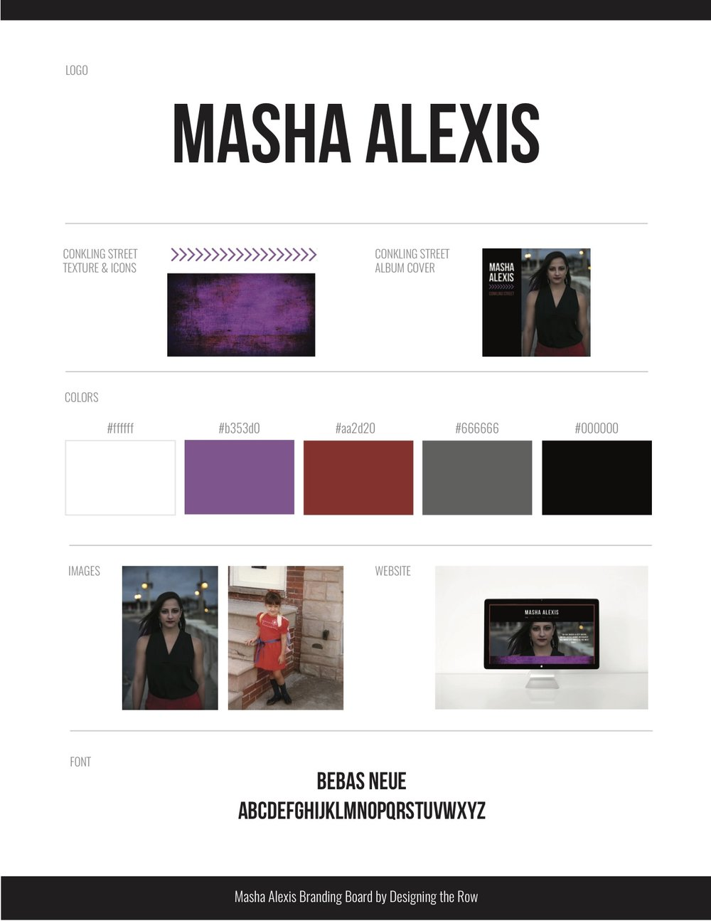 Masha Alexis website branding board | Designing the Row