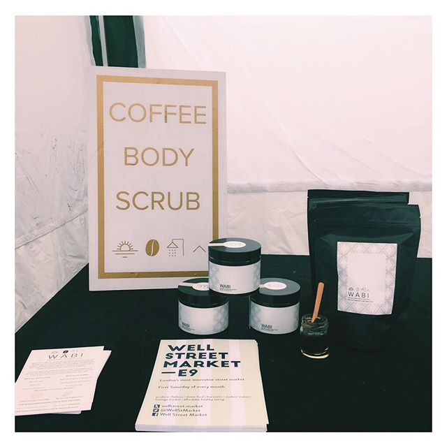 Ethical, organic and great in your morning shower 🚿  we are down at @wellstmarket until 4pm today! #coffeescrub #naturalskincare #thisweekend #market #Hackney #london