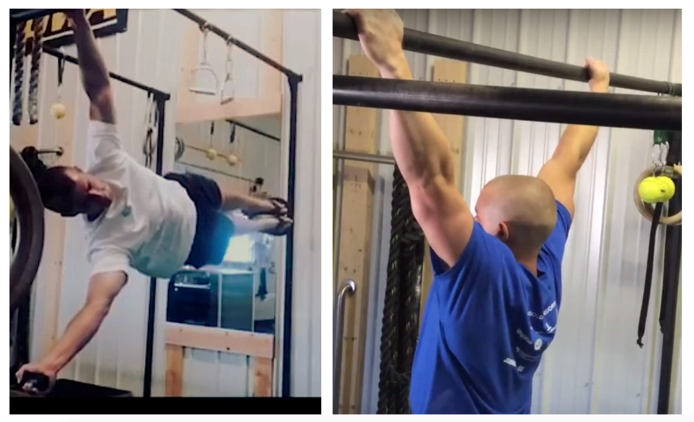 The resemblance in grip width for a human flag and a wide grip chin up.