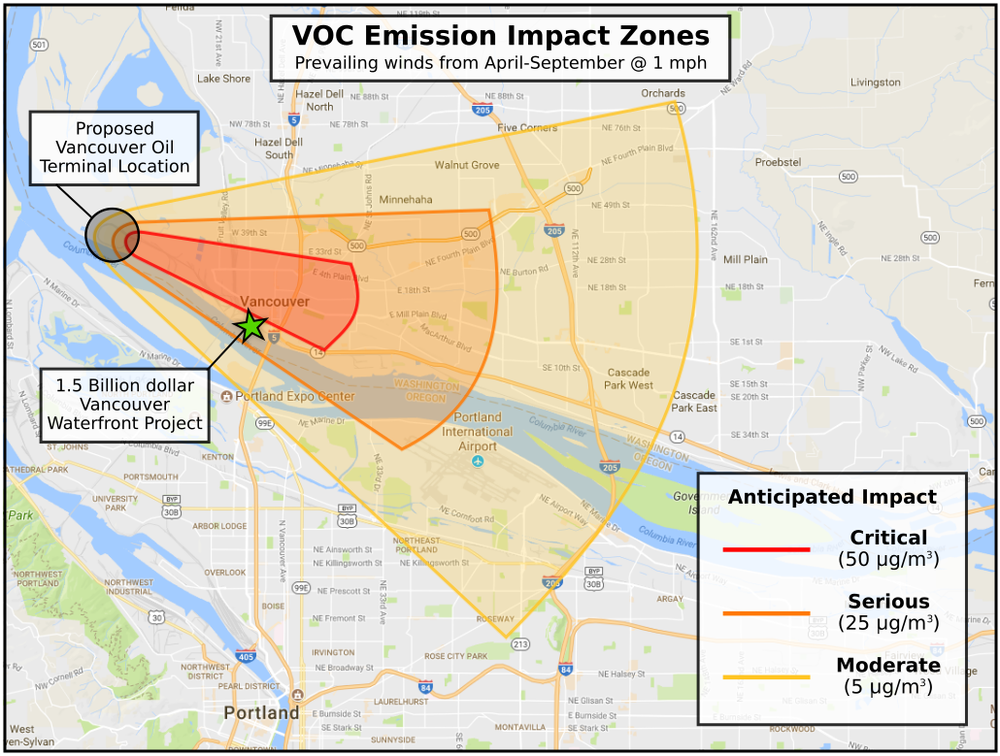 "This graphic shows projected emissions from the proposed oil terminal, clearly showing that the Vancouver Waterfront Project falls well within the ""critical"" or ""serious"" areas of anticipated impact."