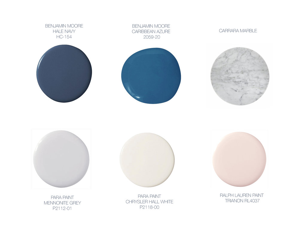 Our colour palette and colour selections, corresponding to photos below of our space