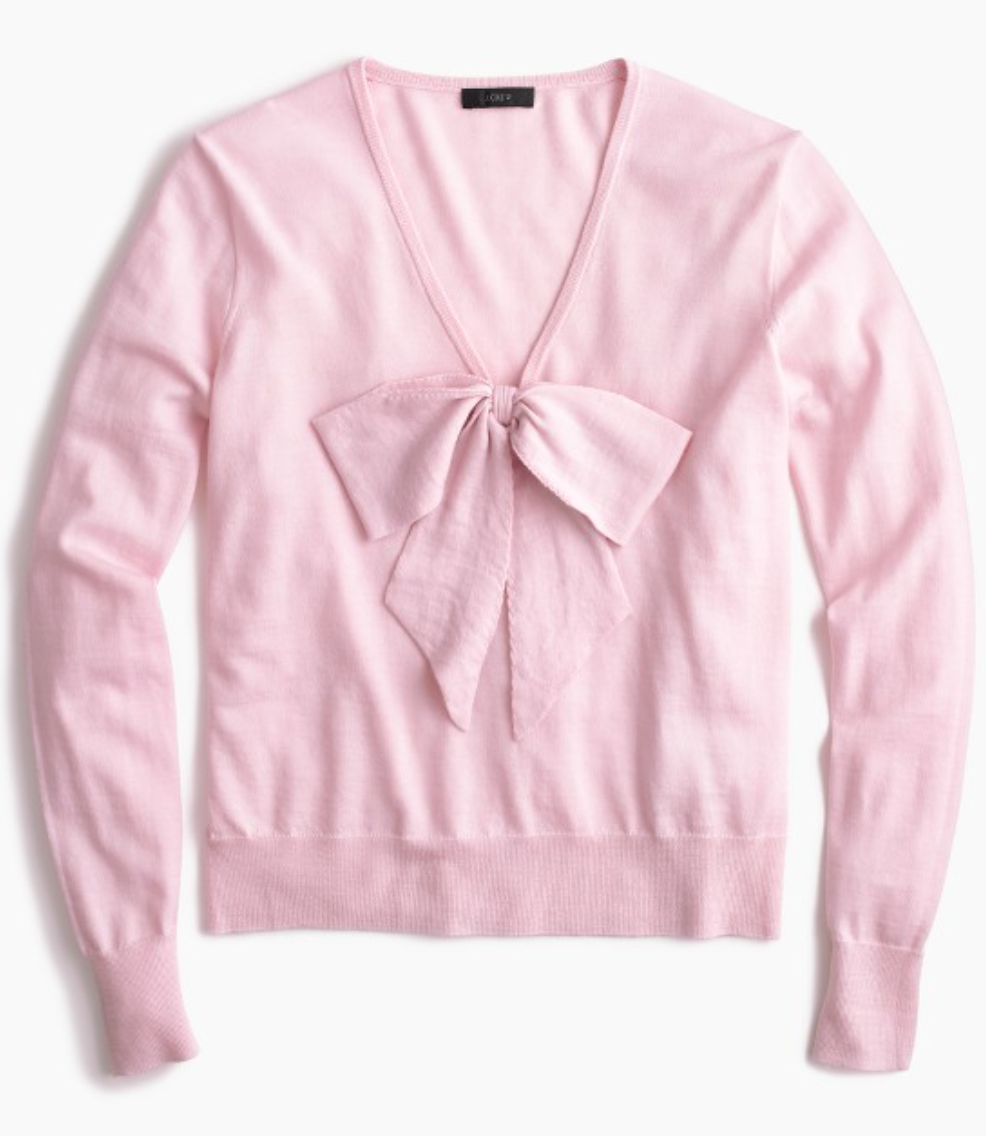 Wrap up your cozy casual with a Lightweight Wool Bow Sweater from  J.Crew