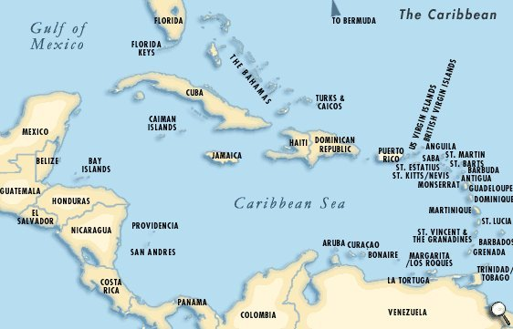 Here's a little peek (in case you're just like me, I need maps!), we're hanging out just below Cuba!