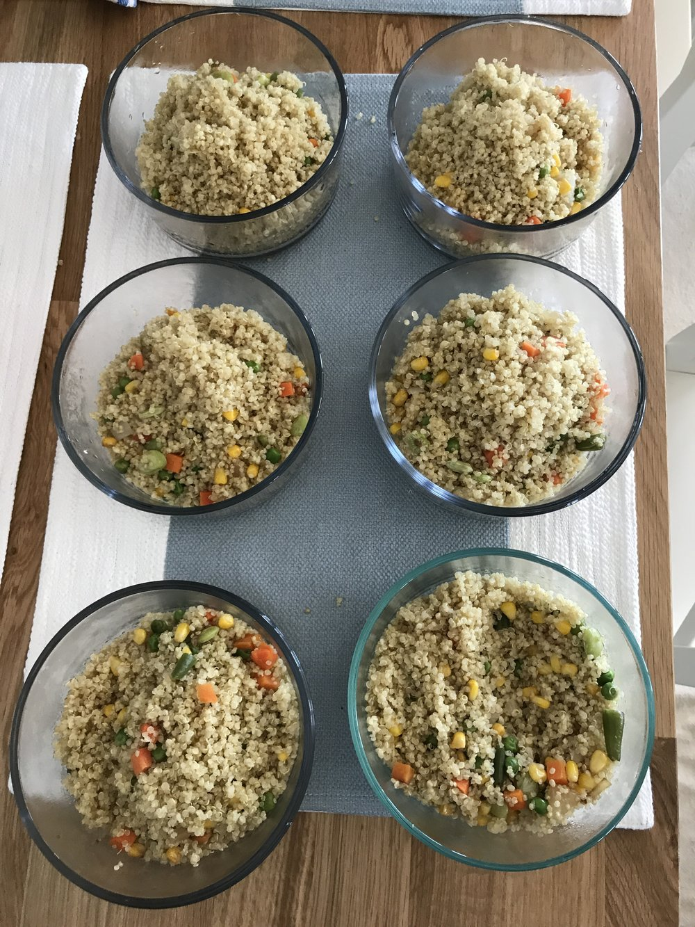 Featured is a fabulous quinoa medly option - mix of fun veggies,cooked down yellow onion