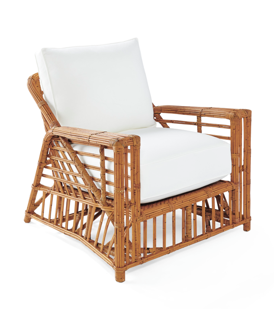 The Bungalow Chair by  Serena and Lily  is customizable and on trend with everything island