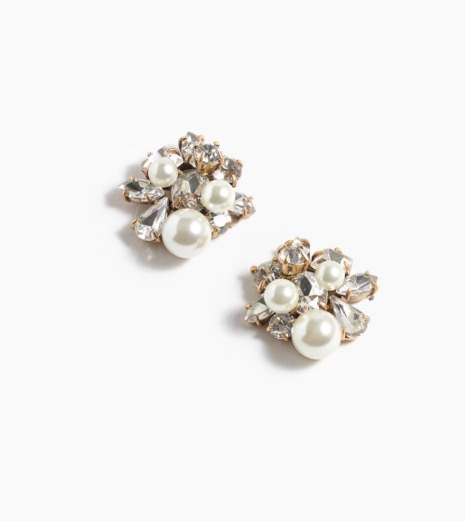 J Crew - Pearl and Crystal Earrings
