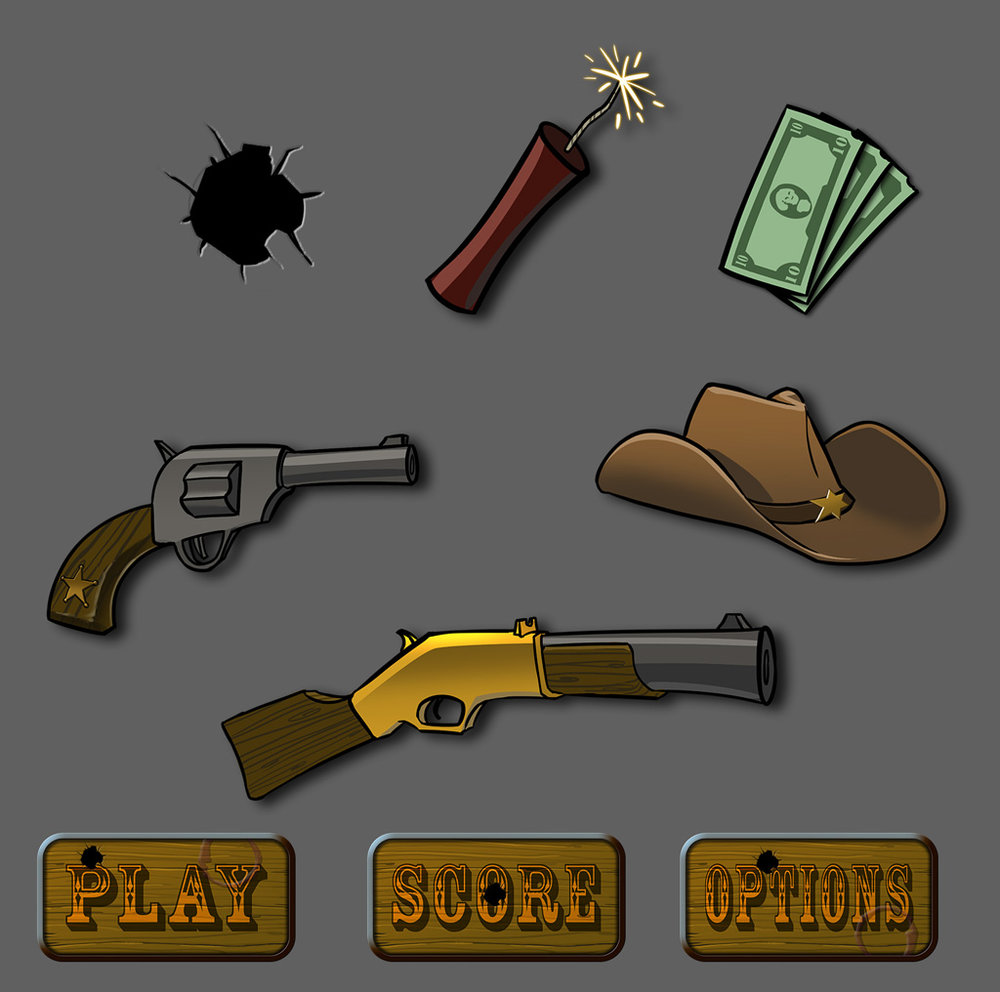 Western Themed Mobile Game UI