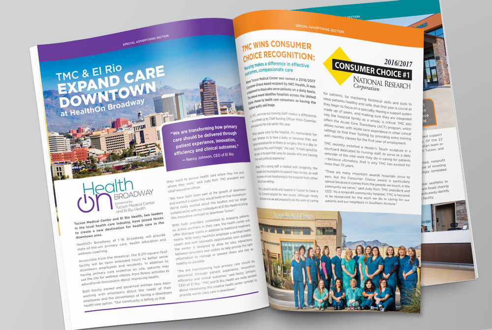 Tucson Medical Center  •  HealthOn Broadway, TMC Magazine Spread