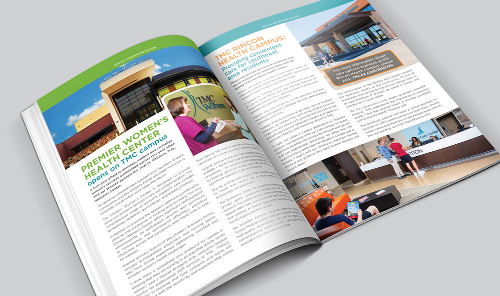 Tucson Medical Center  •  HealthOn Broadway Magazine Spread Design