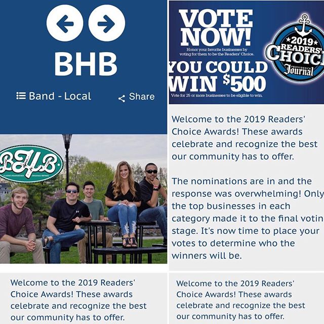 VOTE! VOTE! VOTE! Link is on our homepage... quick n' easy!  Choose entertainment, local band, find BHB and cast your vote!  3 days to go let's get them rolling in!  Whoop! Humbled to be a part of this! #localband #localmusic #projo #bestofri #dowhatyoulove #thankful