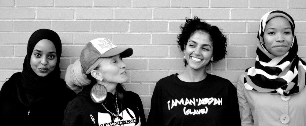 "SARA (2016) The photos in this series recreate the scene entitled ""Sara"" from Sampled: Beats of Muslim Life. Photographer: Eve Rivera www.everivera.com Models: Manal Farhan, Jacinda Bullie, Makkah Ali and Samira Abderahman"