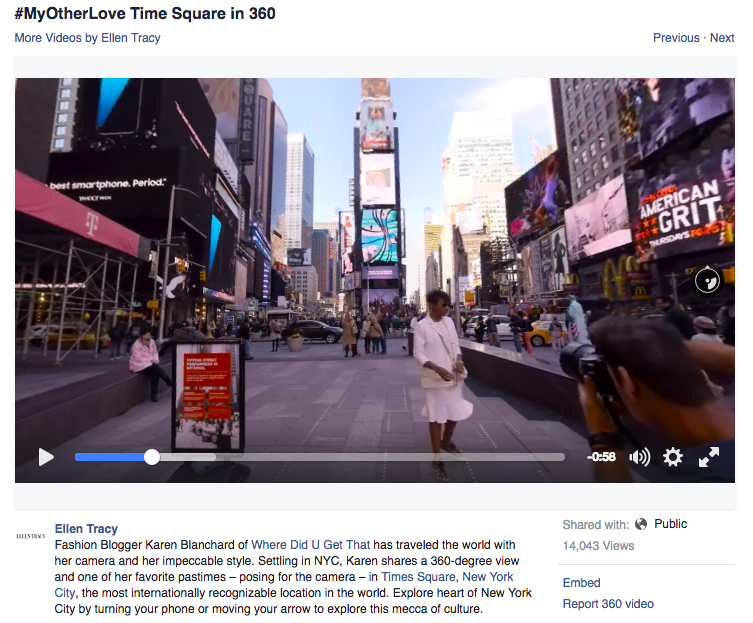 Another 360 VR Video Online for Ellen Tracy — Andrew T  White
