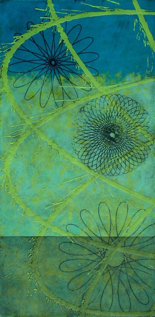 Center of Oscillation, Encaustic on Panel, 24 x 12