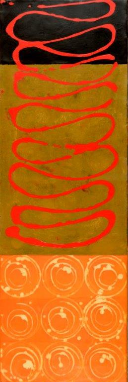 Sinuous Red, Encaustic on Panel, 36 x 12