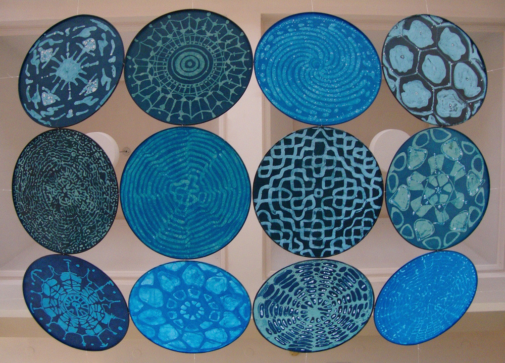 Wave Phenomena, Encaustic, Fiber, Steel, Each Panel 24 x 24