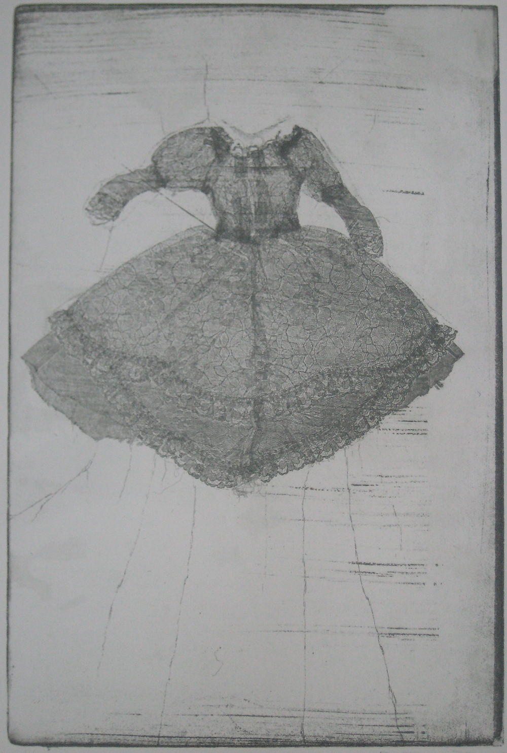 Dress Series 3, Monoprint on Paper, 21 x 16