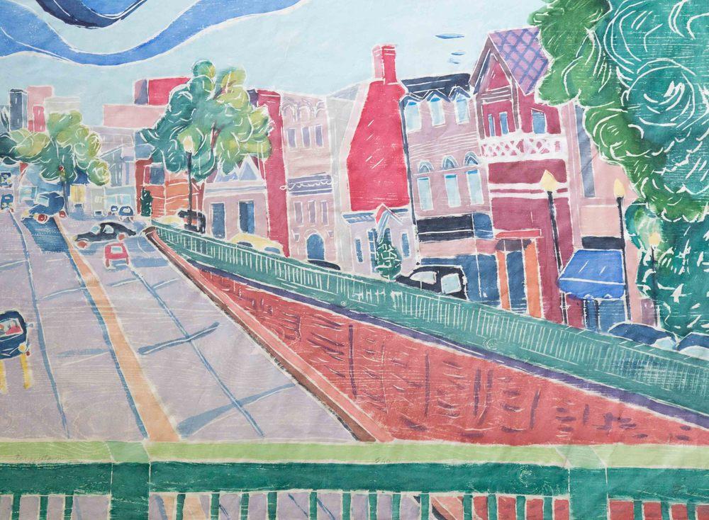 Across Town, Between Buildings 2, Wood Cut on Paper, 24 x 32
