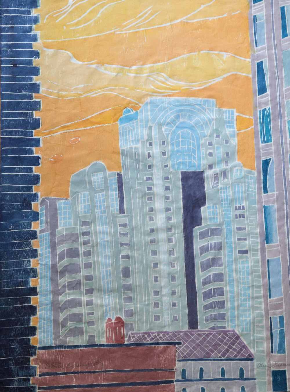 Between Buildings 2, Wood Cut on Paper, 32 x 24