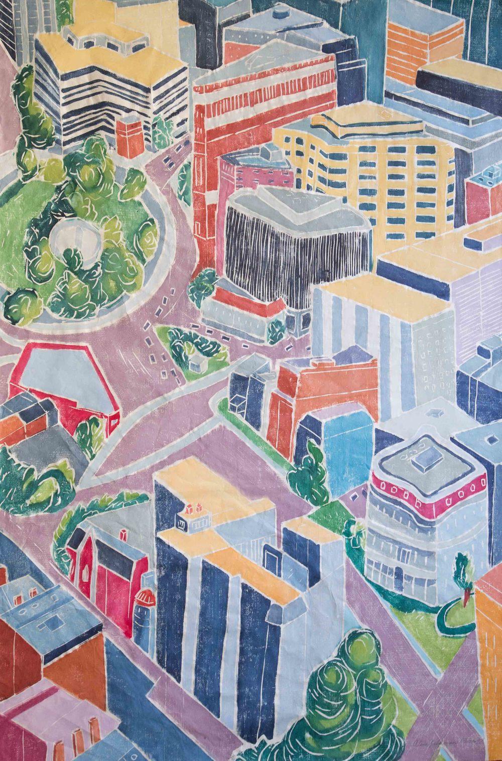 Midtown, Between Buildings 2, Wood Cut on Paper, 48 x 32