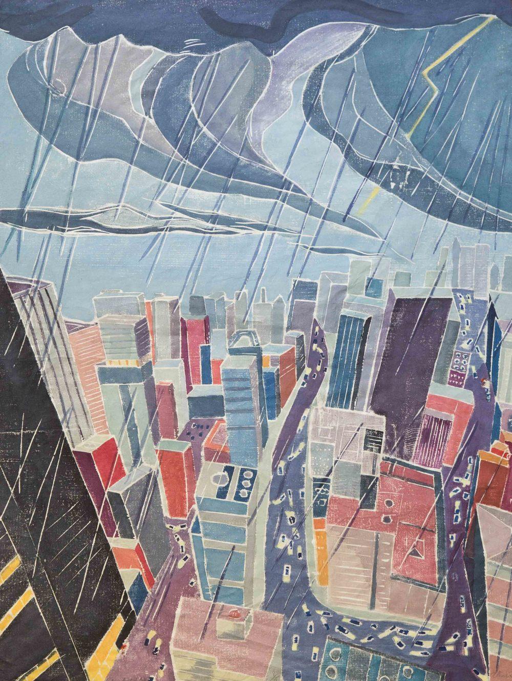 Rainheld City, Between Buildings 2, Wood Cut on Paper, 32 x 24