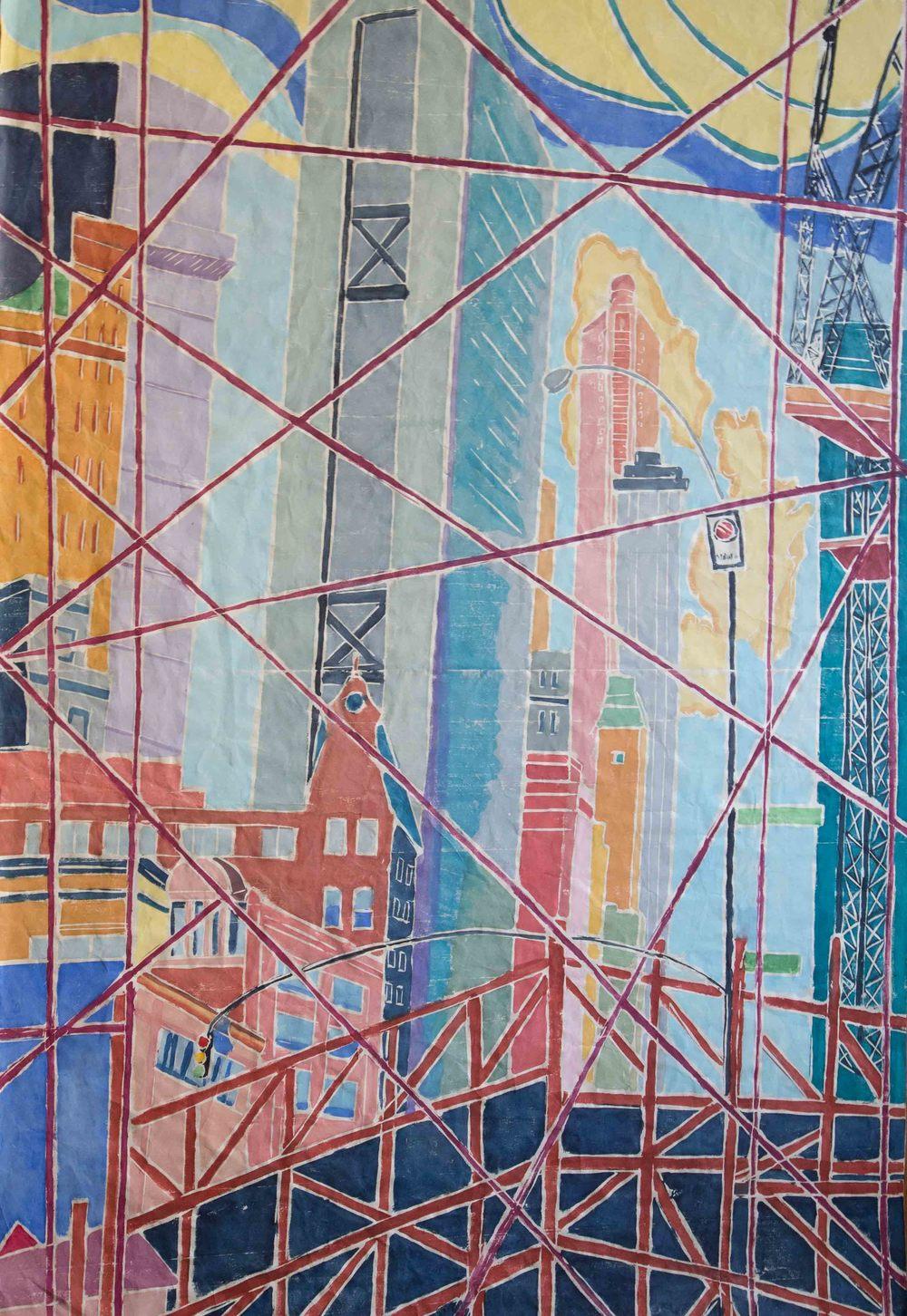 Leaded City, Between Buildings 2, Wood Cut on Paper, 48 x 32