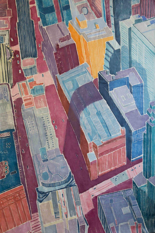 Train of Light, Wood Cut on Paper, 48 x 32