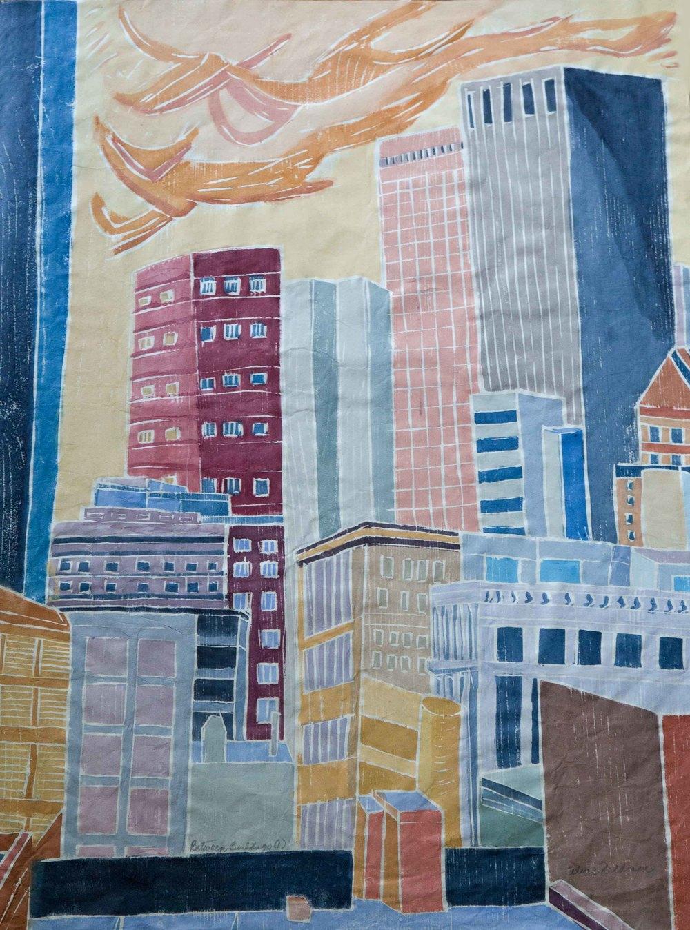 Between Buildings 1, Wood Cut on Paper, 32 x 24
