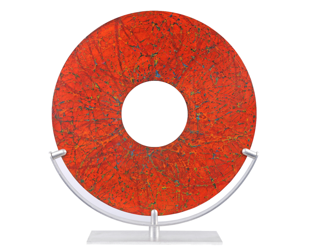 "Relic No. 3, Acrylic and Wax on Aluminum Panel, 29"" Diameter"