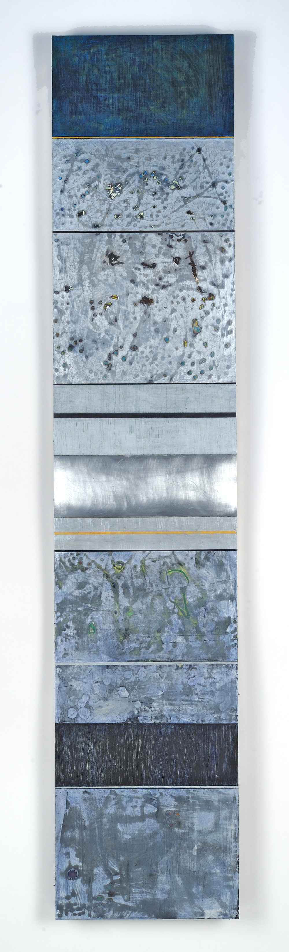 Strata 15 -1, Acrylic and Wax on Aluminum Panel, 58 x 12