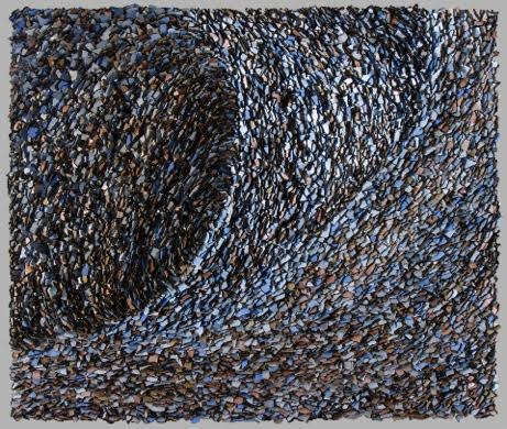 Murmuration 5 Painted Hand Torn Paper on Board, 27 x 31