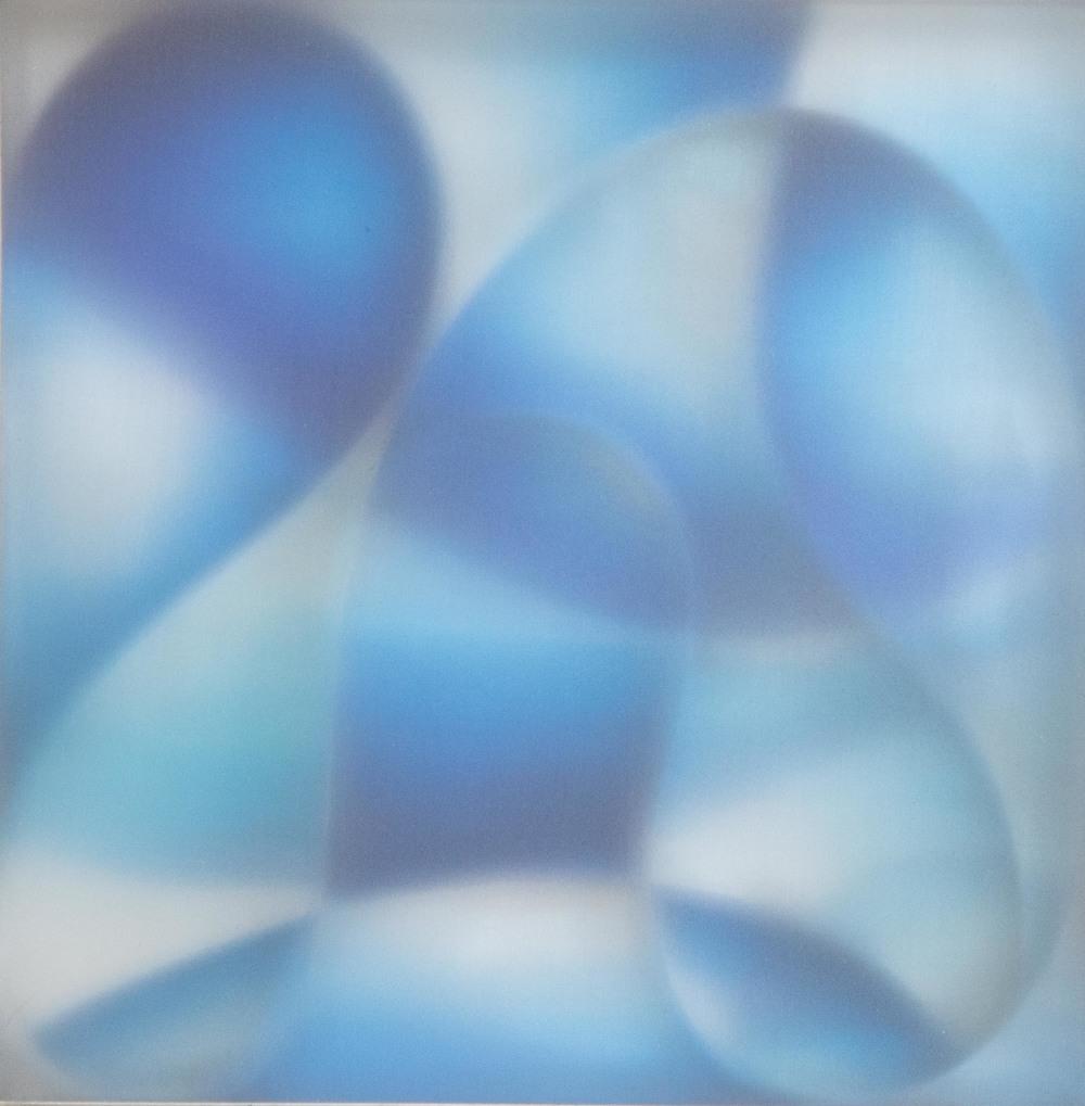 Blue Intersection, Aluminum Mylar Acrylic Silk, 14 x 14 x 3