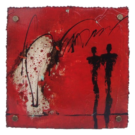 Cut 15 -541, Mixed Media on Metal with Plexiglas, 15 x 15
