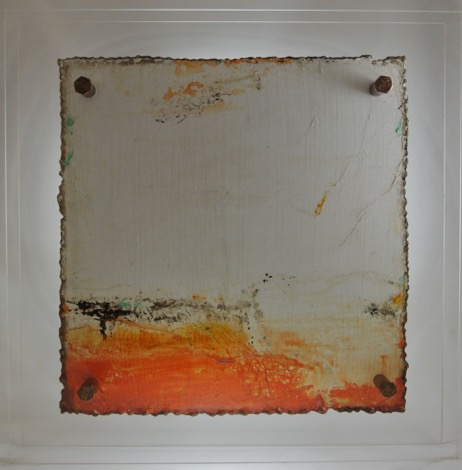 Cut 16 - 242, Mixed Media on Metal with Plexiglas, 15 x 15