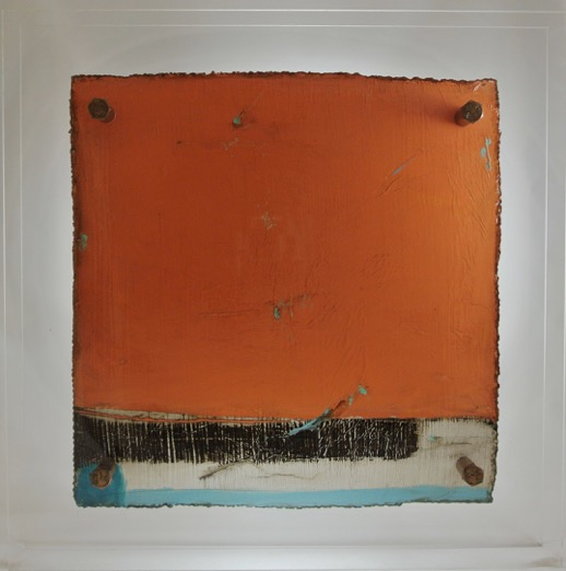 Cut 16 - 267, Mixed Media on Metal with Plexiglas, 15 x 15