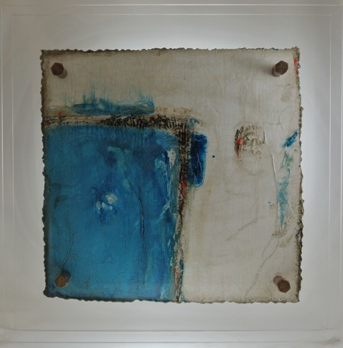 Cut 16 - 330, Mixed Media on Metal with Plexiglas, 15 x 15
