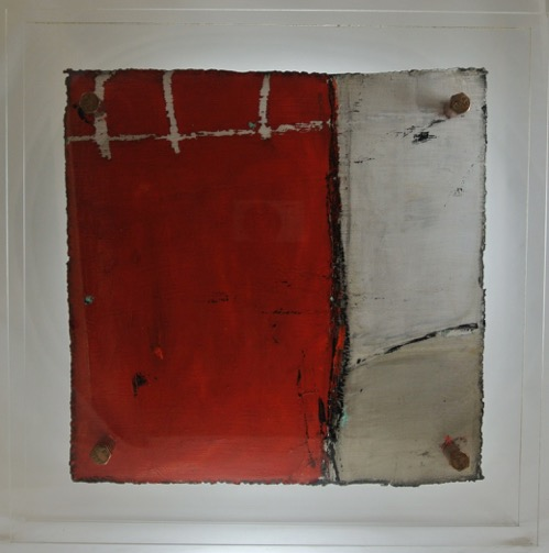 Cut 16 - 334, Mixed Media on Metal with Plexiglas, 15 x 15