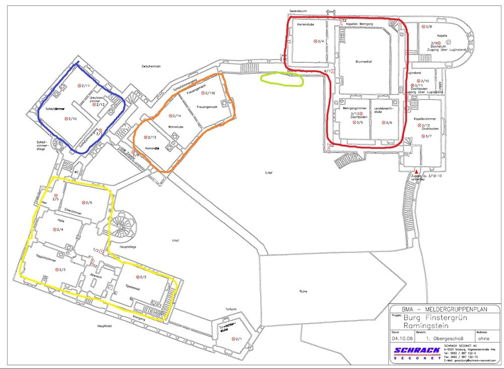 "The colours mark the following area's  Yellow: Main Section (""Haupttrakt"") Blue: Main Tower Orange: Middle Section (""Zwischentrakt"") Red: Front Section (""Vordertrakt') - this is where the krewe rooms are located Green: Entrances to the showers and washing rooms"