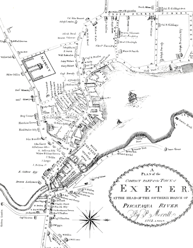 A Plan of the Compact Part of the Town of Exeter at the head of the southerly branch of the Piscataqua River. Phineas Merrill, 1802. Reprinted from the original plate by the Exeter Historical Society.