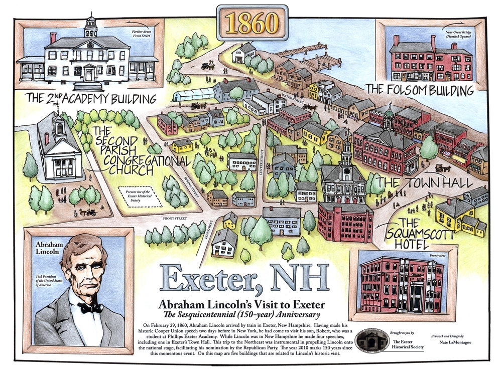 The Lincoln Sesquicentennial Celebratory Map of Exeter, 2010, by Nathan LaMontagne