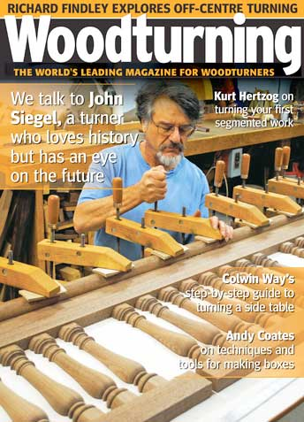 Jon Siegel on the cover of the August, 2016 issue of Woodturning magazine.