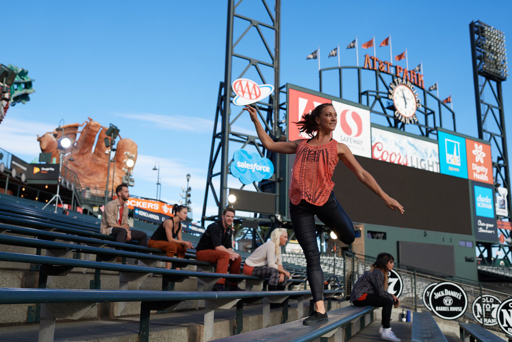 Erica Chipp and BaseBallet dancers in the bleachers [Photo by David DeSilva]