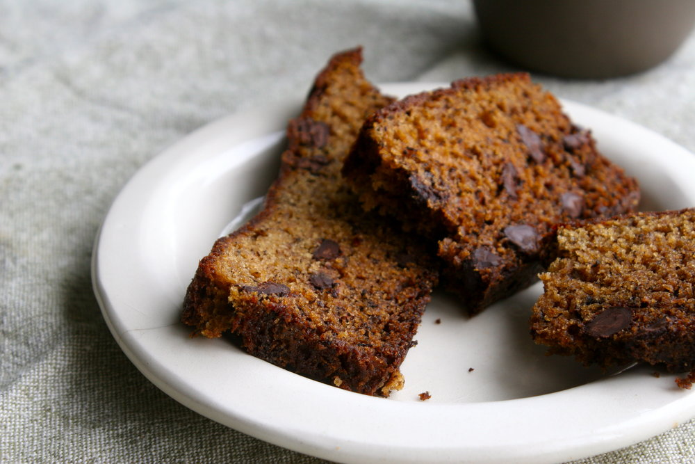 choc chip banana bread slices