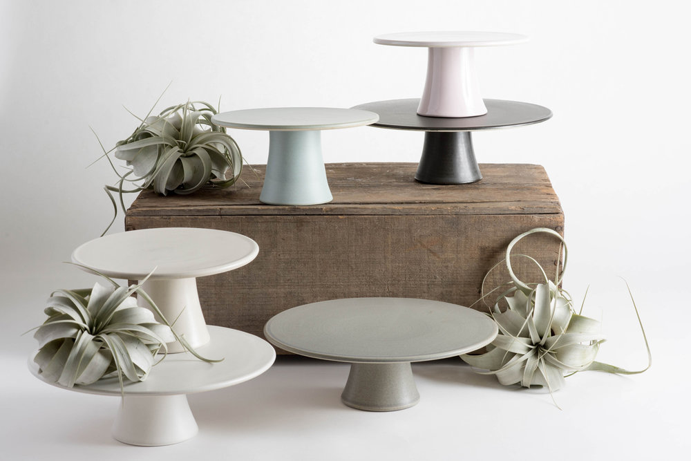 Modern minimal cake stands - Cake Bloom-Amanda Wright Pottery Cake Stand collaboration