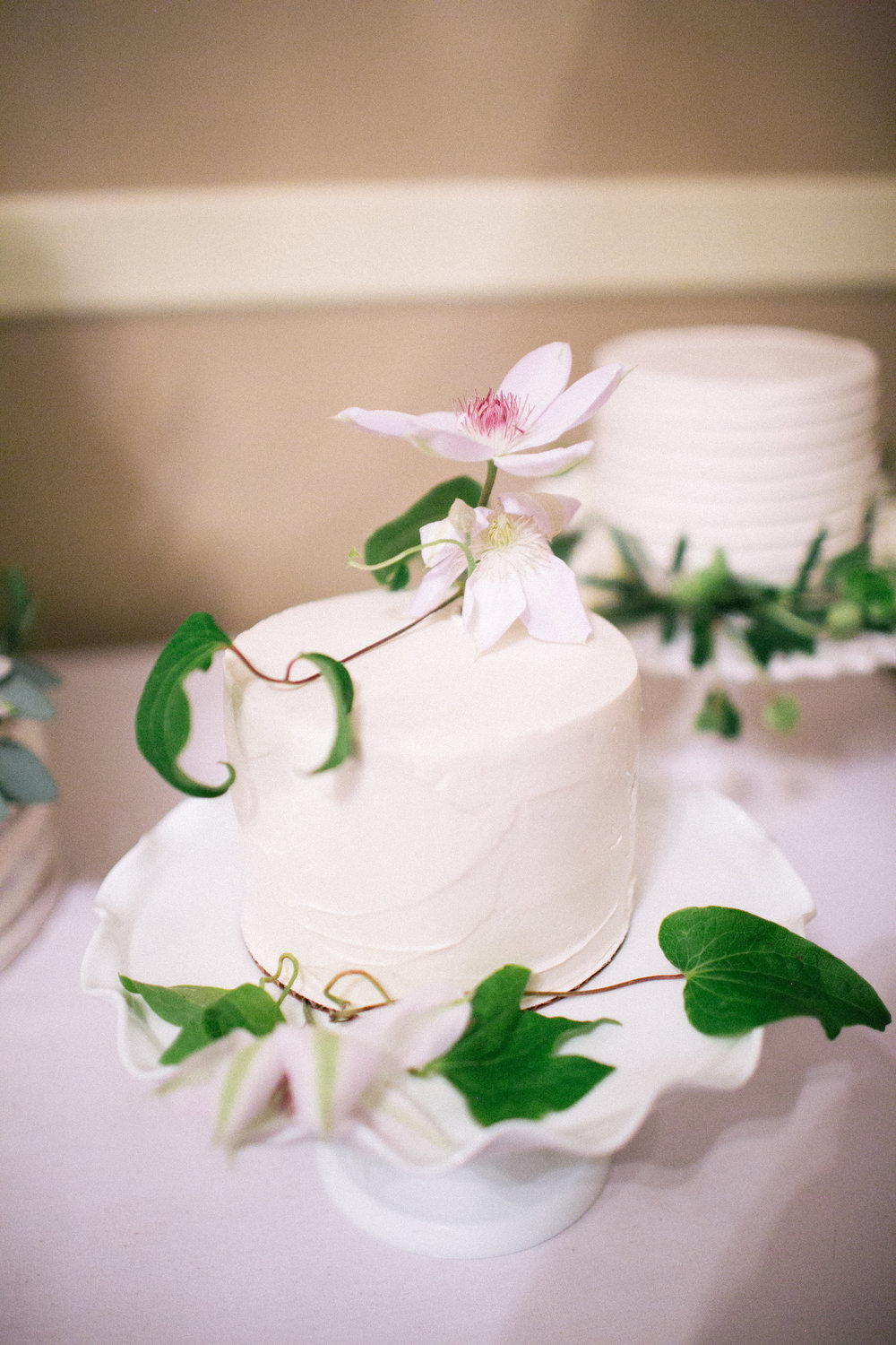 Simple single tier buttercream wedding cake inspiration with vines