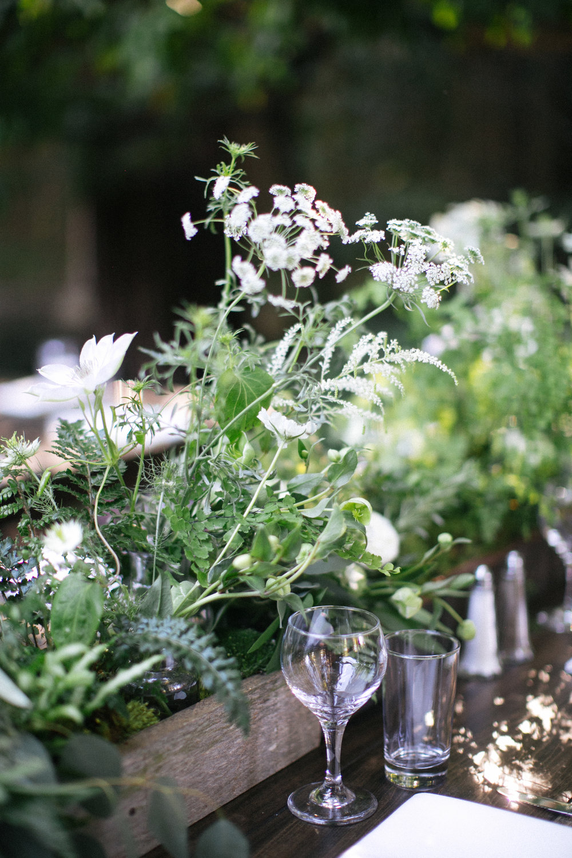 Lush green tabletop idea with ferns, queen anne's lace, hellebores - Venne Floral - Deer Park Villa - Nichols Photographers
